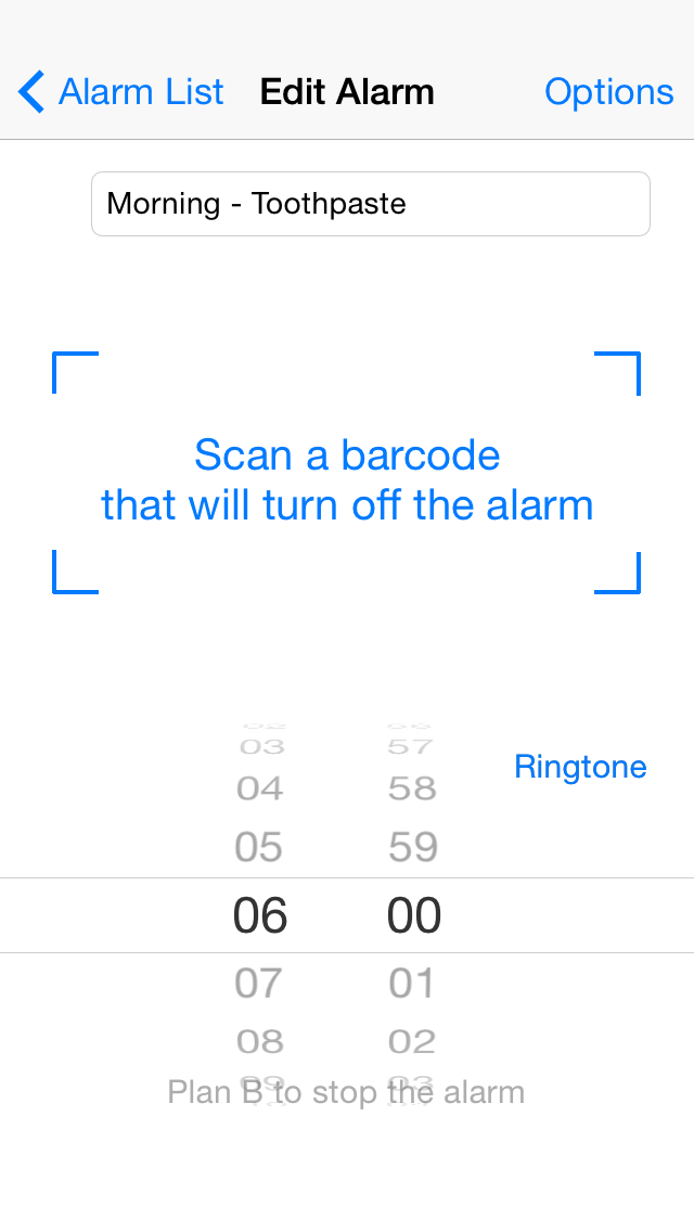 Barcode Alarm Clock - iphone1