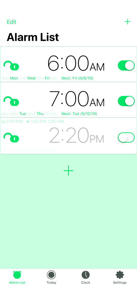 Motion Alarm Clock: Alarm List