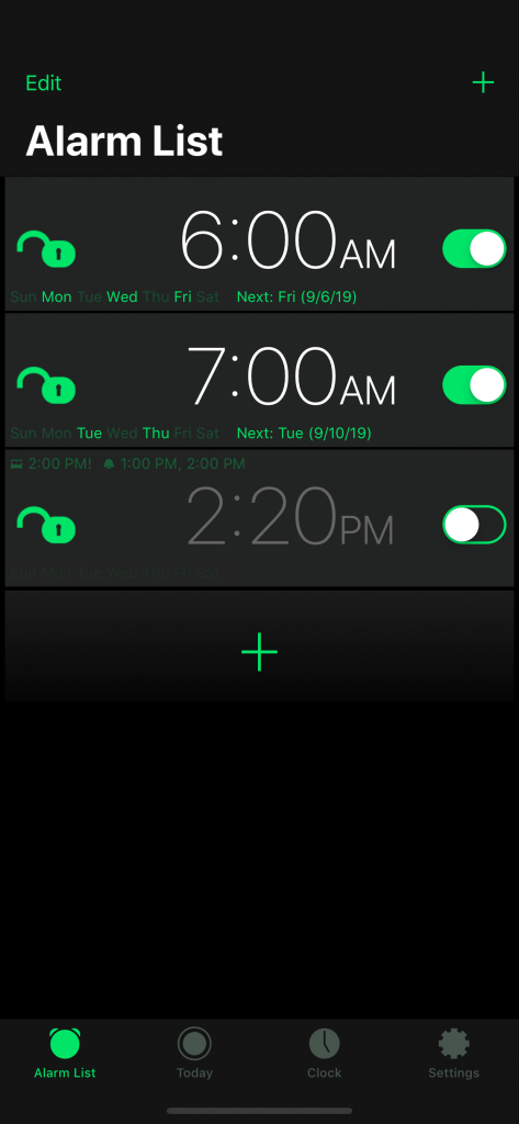 Motion Alarm Clock: Alarm List in Dark Mode